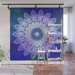 tie dye sunflower mandala in blues Wall Mural