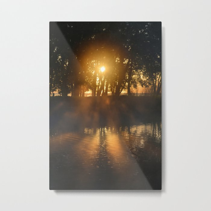 Hazy River Sunrise Metal Print