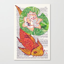 No Need to be Koi, Roi (koi and water lily on dictionary page) Canvas Print