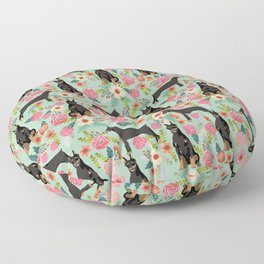 Doberman Pinscher florals must have dog breed gifts for dog person with doberman Floor Pillow