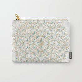 Marble Mandala Sea Shimmer Gold + Turquoise Carry-All Pouch