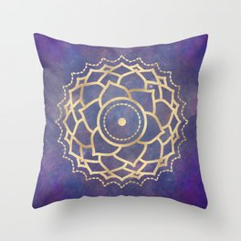 Mandala Chakra Copper and Purple Crown Chakra Throw Pillow