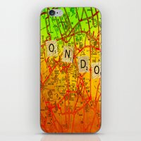 london map iPhone & iPod Skins featuring London Map by Ganech joe