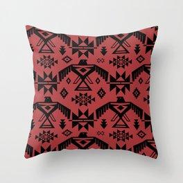 Southwestern Thunderbird Kilim in Rust Red + Black Onyx Throw Pillow