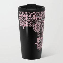 Pink lace on a black background . Travel Mug