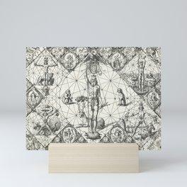 Vintage Zodiac and Elements Chart, Year 1597 Mini Art Print