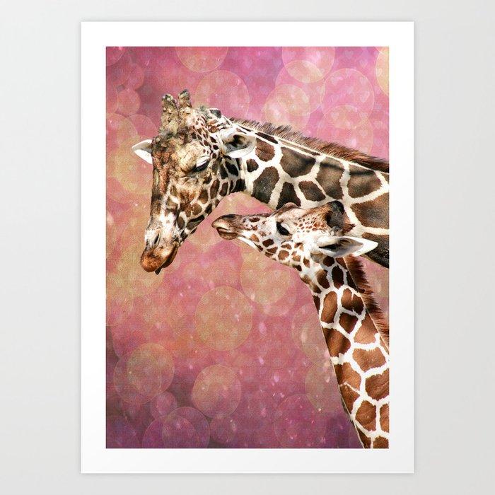 Baby and Mom Giraffe Art Print