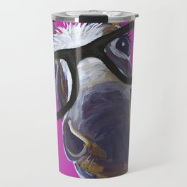 Up Close Donkey Art, Donkey with Glasses Art Travel Mug