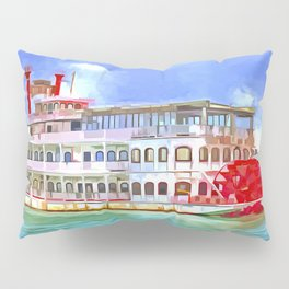 New Orleans Paddle Steamer Pop Art Pillow Sham