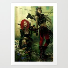 Hot pepper - Sci-fi soldier girls with weapons Art Print