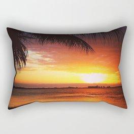 Palm Tree Beach Sunset Rectangular Pillow