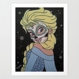 Frozen Elsa Sugar Skull Art Print