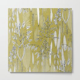 meadow feathers gold Metal Print