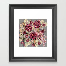 Roses and cherry blossom pattern Framed Art Print