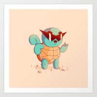 squirtle Art Prints featuring Squirtle by Daniel Mackey