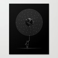 I Dream To Explore The World (Black) Canvas Print
