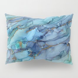Mermaid Party Blue Marble Abstract Ink Pillow Sham