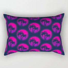 1980s retrowave neon palm tree sunset pattern Rectangular Pillow