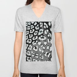 Black and White Leopard Spots Unisex V-Neck