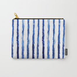 Blue painted stripes Carry-All Pouch