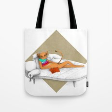 napping while reading Tote Bag