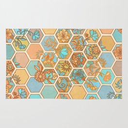 Golden Honeycomb Tangle - hexagon doodle in peach, blue, mint & cream Rug