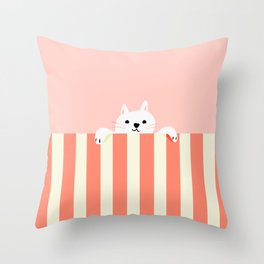 Abstraction_Little_Cat_Cute_Minimalism_001 Throw Pillow