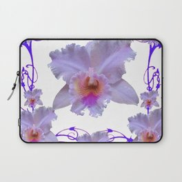 WHITE CATTLEYA ORCHIDS & PURPLE  ART Laptop Sleeve