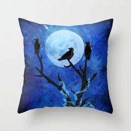The Three Crows Throw Pillow