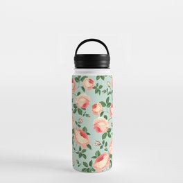 Roses on Turquoise Water Bottle