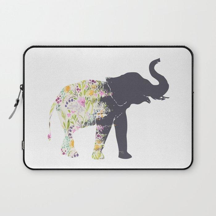 Floral Elephant Animal Print Laptop Sleeve