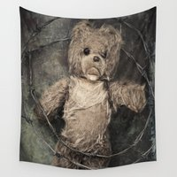 teddy bear Wall Tapestries featuring trapped teddy bear by Maria Heyens