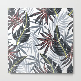Fashionable seamless tropical pattern with bright plants and leaves on a delicate background. Beautiful exotic plants. Vector design. Jungle print. Floral background. Metal Print
