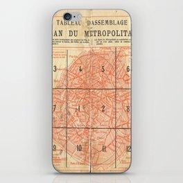 Vintage Paris City Centre Map iPhone Skin