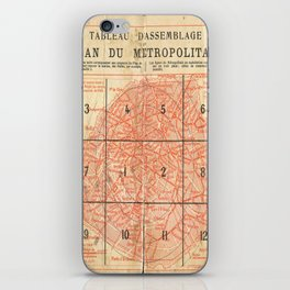 Vintage Paris City Centre Map iPhone Skin