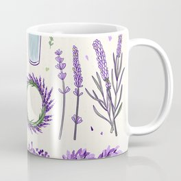 Modern ivory lavender purple vector floral pattern Coffee Mug