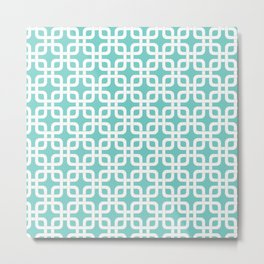 Mid-Century Modern Geometric Pattern, rounded corner squares interlocking Metal Print