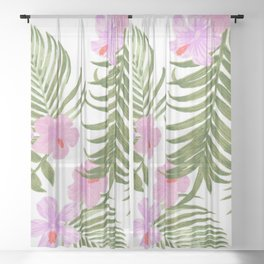 Modern pink green palm tree tropical floral Sheer Curtain