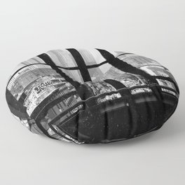 New York City Window Black and White Floor Pillow