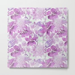 Soft Pink Pastel Watercolor Flower Pattern Metal Print