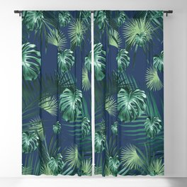 Tropical Jungle Night Leaves Garden #2 #tropical #decor #art #society6 Blackout Curtain