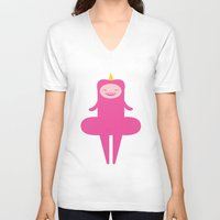 princess V-neck T-shirts featuring Princess by Faryn Akita
