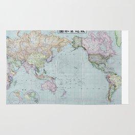 1914 Japanese World Map Rug