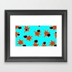 Stars (Orange & Black on Blue) Framed Art Print