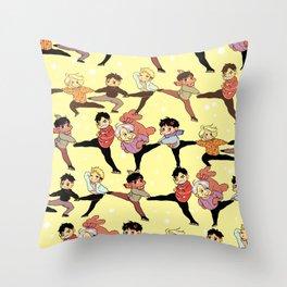 skating conga line Throw Pillow