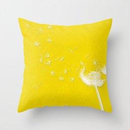 Windblown Dandelion - Yellow Throw Pillow