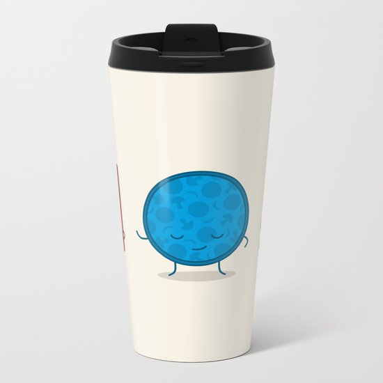 Bauhaus Pizza - Cute Doodles Metal Travel Mug