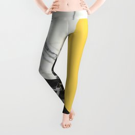 Black and White Marble with Pantone Primrose Yellow Leggings