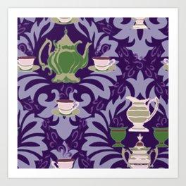 Victorian Tea Extra Large Set Purple by Lorloves Design Art Print