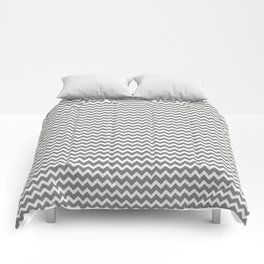 Chevron Zigzag Horizontal Lines Benjamin Moore 2019 Accent Color Cinder Dark Gray AF-705 on Pure Whi Comforters